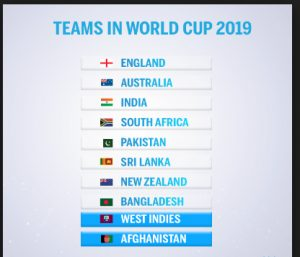World cup 2019 teams