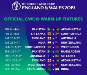 world cup 2019 warm up matches list