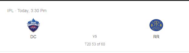 Dc vs RR live match