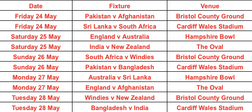 ICC cricket world cup 2019 Warm-up Matches Schedule