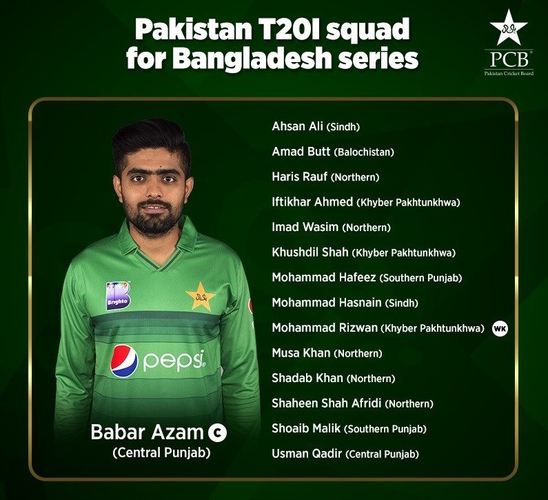 Pakistan T20 Squad for BD T20Is